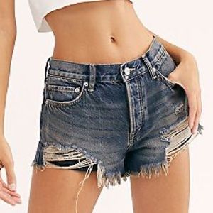 Free People High Rise Denim Cutoff Ripped Shorts
